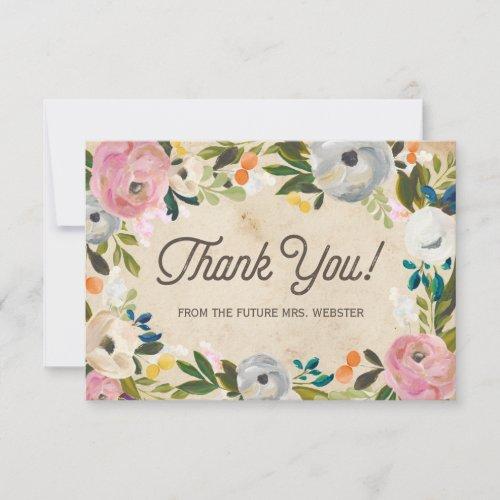 Vintage Florals   Bridal Shower Flat Thank You