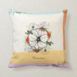 Vintage Flower Blossom Throw Pillow