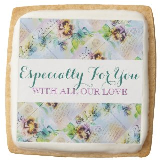 Vintage flower PERSONALIZE message Square Premium Shortbread Cookie