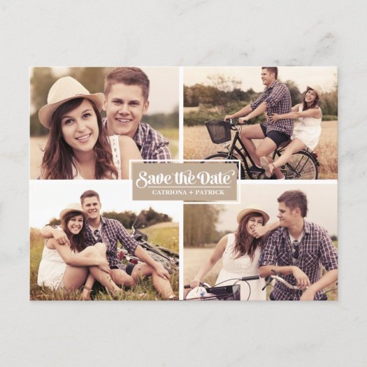 Vintage Four Photo Frame Save the Date Postcard