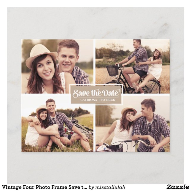 Vintage Four Photo Frame Save the Date Postcard