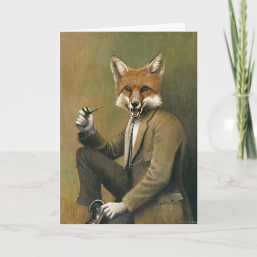Vintage Fox In Suit Greetings Card