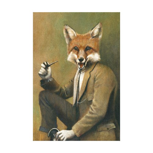 Vintage Fox In Suit Wrapped Canvas