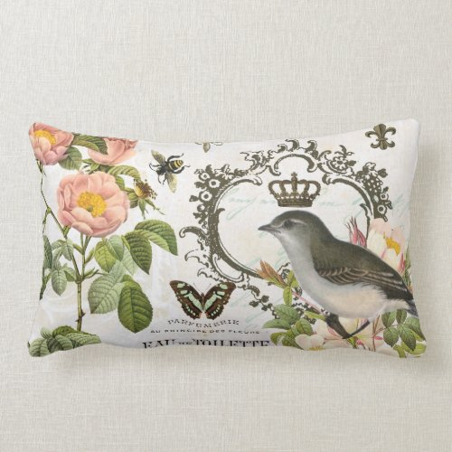 Vintage French Bird with crown pillow