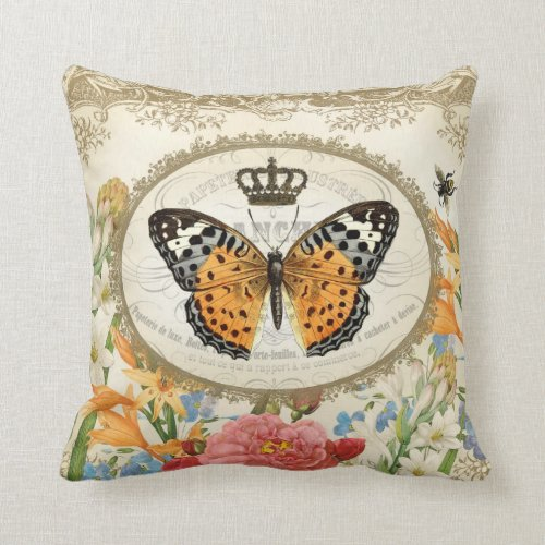 Vintage French Shabby Chic Butterfly pillow