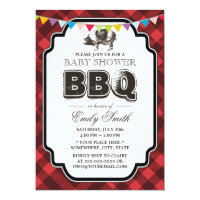 Vintage Gingham Pig Roast Baby Shower BBQ Card