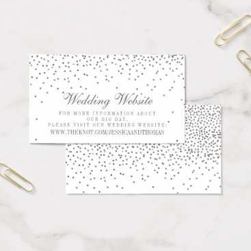 Vintage Glam Silver Confetti Wedding Website Cards