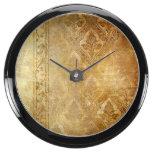 Vintage,gold,rustic,damasks,worn,floral,pattern,sh Aqua Clock