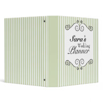 "Vintage Green Striped 1"" Wedding Planner Binder"