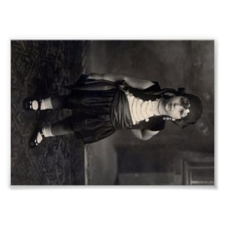 Vintage Gypsy Girl - old Black and White Photo Print