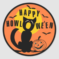 Vintage Halloween - Happy Halloween Black Cat Classic Round Sticker