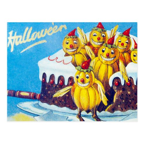 Vintage Halloween Holiday pumpkin cake postcard
