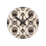 vintage,halloween,skull,damask,pattern,chic,grunge round wall clock