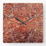 Vintage Hand Carved Wood Square Wall Clock