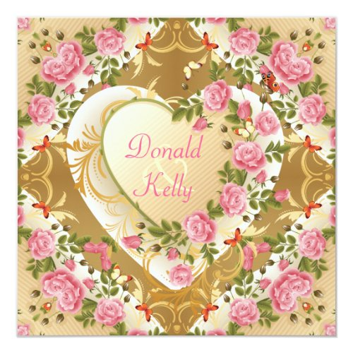 Vintage Hearts With Roses & Butterflies Wedding Invitation