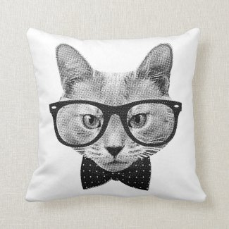 Vintage hipster cat throw pillow