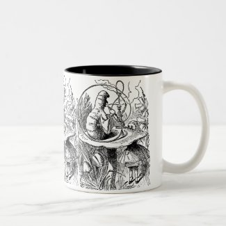 Vintage Hookah Smoking Caterpillar with Alice Mugs