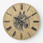 Vintage Horse Cameo Large Clock