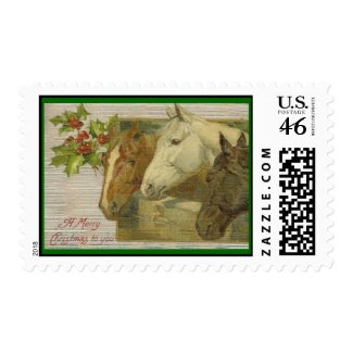 Vintage Horses Christmas Postage Stamps stamp