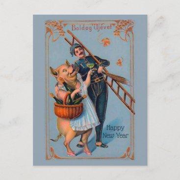 Vintage Hungarian Happy New Year Boldog Újévet Postcard