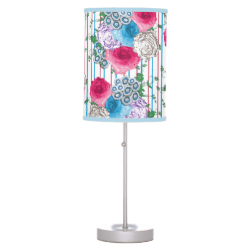 Vintage Inspired Floral Stripe Print Pink Blue Mix Desk Lamp