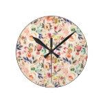 Vintage ivory pink brown watercolor rustic floral round clock