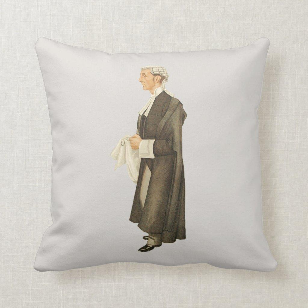 Vintage Judge Spy Print Throw Pillow