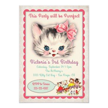 Vintage Kitty Cat Birthday Party Invitation