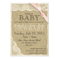 Vintage Lace and Bow Baby Shower Blush Pink 5x7 Paper Invitation Card
