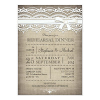 Vintage Lace & Linen Rustic Rehearsal Dinner 5x7 Paper Invitation Card