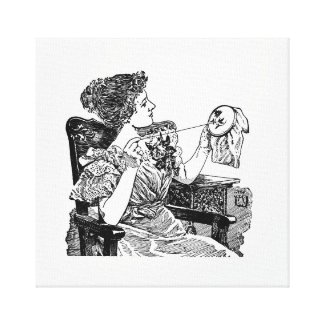 Vintage Lady Embroidery Canvas Print
