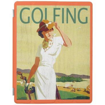 Vintage Lady Golfer Golfing iPad Cover 2/3/4