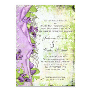 Vintage Lavender Purple Sweet Peas Fl Weddings Invitation