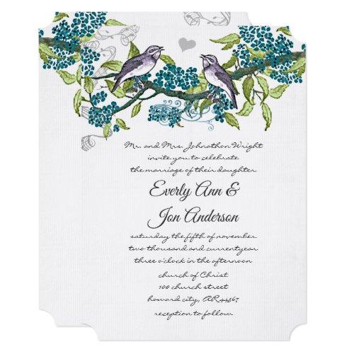 Vintage Love Birds Teal Purple & Green Wedding Invitation