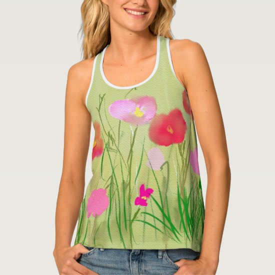Vintage Love Life Field of Poppies painting Tank Top