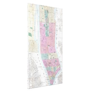 Vintage Map of Lower Manhattan (1865) Stretched Canvas Prints