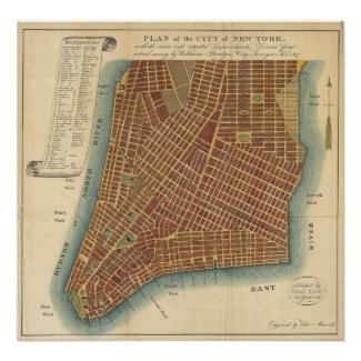 Vintage Map of Lower New York City (1807) Poster