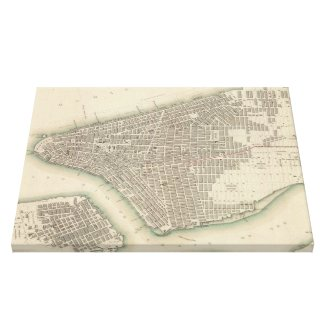 Vintage Map of Lower New York City (1840) Gallery Wrap Canvas