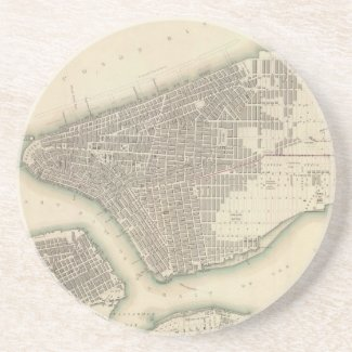Vintage Map of Lower New York City (1840) Coasters