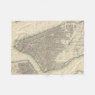 Vintage Map of Lower New York City (1840) Fleece Blanket