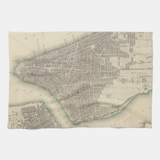 Vintage Map of Lower New York City (1840) Towels
