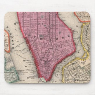 Vintage Map of Lower New York City (1860) Mouse Pad