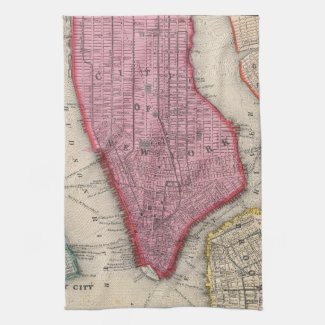 Vintage Map of Lower New York City (1860) Towel
