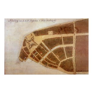 Vintage Map of New Amsterdam (1660) 2 Poster