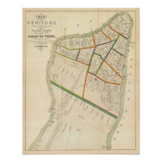 Vintage Map of New York City (1831) Poster
