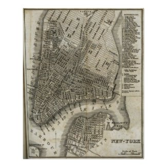 Vintage Map of New York City (1842) Print