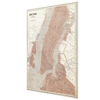 Vintage Map of New York City (1845) 2 Canvas Print