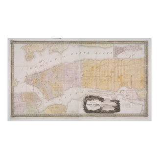 Vintage Map of New York City (1845) Poster