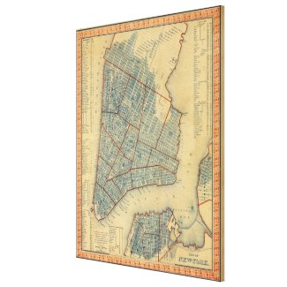 Vintage Map of New York City (1846) Gallery Wrap Canvas