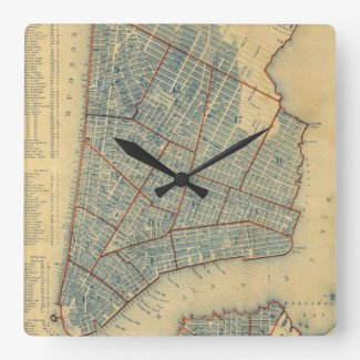 Vintage Map of New York City (1846) Square Wallclock